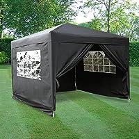 ESC Ltd 3x3mtr Pop Up Waterproof Gazebo in Black with 2 WindBars and 4 Leg Weight Bags