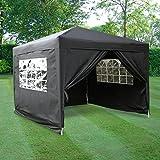 Airwave Pop-Up-Pavillon, 3 x 3 m, schwarz, wasserfester GartenPavillon, 2 Windstangen und 4 Gewichte für die Beine
