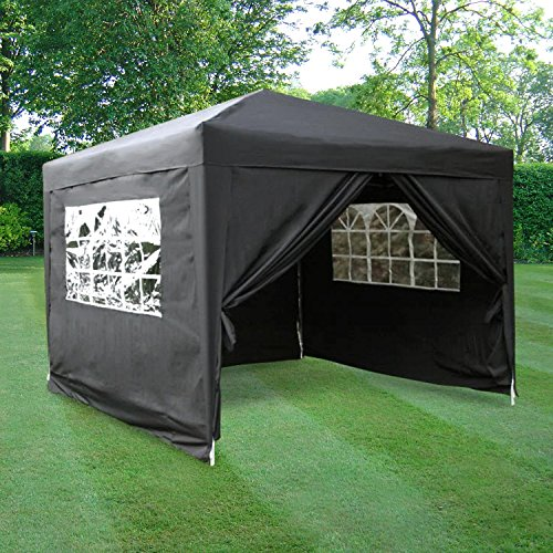 Airwave Pop-Up-Pavillon, 3 x 3 m, weiß, wasserfester GartenPavillon, 2 Windstangen und 4...
