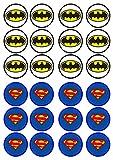 Cupcake Topper/Kuchendekor Batman vs. Superman, besonders dick, gesüßt, Vanille, essbare Waffel Reispapier