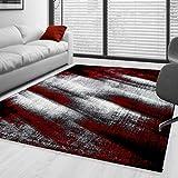 Moderner Design Guenstige Teppich Kurzflor abstrakt Schatten Schwarz Grau Weiss meliert Rot 5 Groessen Wohnzimmer ver. Farben u. Groeßen, Größe:160x230 cm