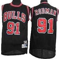 LLZYL Maglia - Chicago Bulls 91# Dennis Rodman Maglie da Basket per Uomo e Donna in Jersey Retro Tessuto Fresco Traspirante