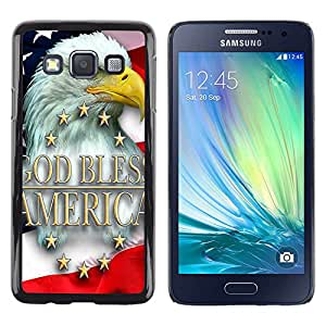 For Samsung Galaxy A3 - God Bless America Bald Eagle Flag Design Cas Housse de protection Ultra Slim Snap on en plastique dur - God Garden -