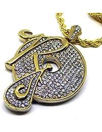R registros hiphop bling–Cadena y colgante bañado en oro