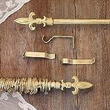 Gardinenstange Vorhangstange Gardinenstange variable Länge Vintage Landhaus Shabby - Florentinische Lilie - 160-300 - Durchmesser 2 cm - Elfenbein Dunkel / Gold - Metall