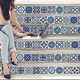 Walplus Adhesivos de pared extraíble Autoadhesivo Arte Mural VINILO DECORACIÓN HOGAR BRICOLAJE Living Cocina Dormitorio Decor papel pintado regalo ESPAÑOL & Marroquí Azul Azulejos Mezcla - 15cm x ;