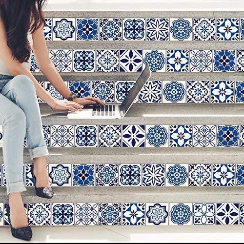 Walplus Wandaufkleber ablösbar selbstklebend Wandkunst Aufkleber Vinyl Wohndeko DIY Wohnzimmer Schlafzimmer Küche Dekor Tapete Geschenk Spanish & Marokkanische blau Fliesen Mix Wand Sticker - 15cm x