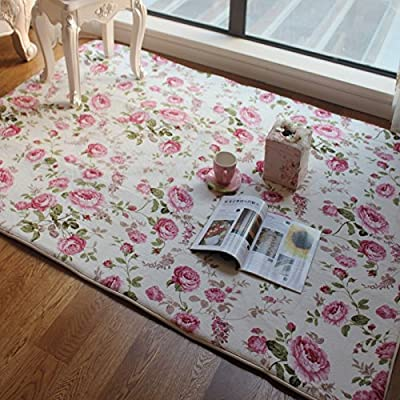 FADFAY Home Textile,Romantic American Country Style Floral Room Floor Mats,Sweet Pink Rose Print Carpets For Living Room Modern,Designer Shabby Style Flower Rug Decorative - inexpensive UK light store.