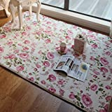 FADFAY Bodenmatte, romantisch, amerikanischer Country Style, folral, rosa, Rosendruck, für Wohnzimmer, dekorativ, Polyester, rose, Size:100*150cm
