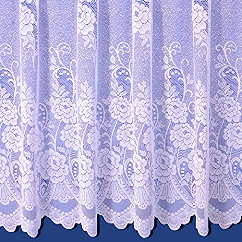 Sally Net Curtain in White. 36inch Drop. Sold By The Metre.