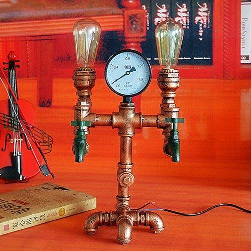 Modeen Vintage Industrial Water Pipes Tischlampe Steampunk Lampe Retro Metall Edison Lichter Bronze 2 Glühbirne Schreibtisch Tisch Licht - Bronze 2-glühbirne