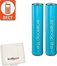Kraftmax 2er-Pack Panasonic Eneloop LITE AAA Akkus - speziell für schnurlose Telefone / DECT Telefon - 2x Micro Akku Batterien in Kraftmax Akkubox