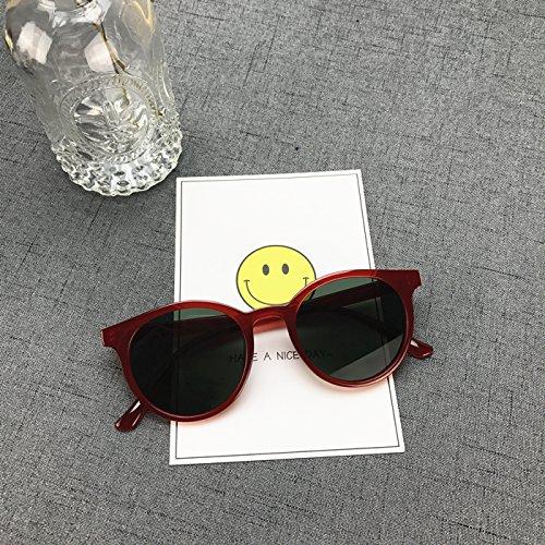 Sunyan gleiche Art der weiblichen weiss die kleinen Rahmen Tinte Spiegel rote kreisförmige Koreanischen tide männlichen rundes Gesicht Sonnenbrille, Rot Gestell schwarz Film