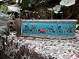 Schlüsselanhänger Schlüsselband Wollfilz hellgrau Fahrräder türkis orange !