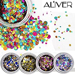 ALIVER Nail Art Glitter Shiny Round Ultrathin Sequins Colorful 1mm 2mm 3mm Manicure 3D Nail Decoration DIY Accessories 12 Box