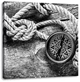 Schiffseil und Kompass auf Holzuntergrund Kunst B&W, Format: 40x40 auf Leinwand, XXL riesige Bilder fertig gerahmt mit Keilrahmen, Kunstdruck auf Wandbild mit Rahmen, günstiger als Gemälde oder Ölbild, kein Poster oder Plakat