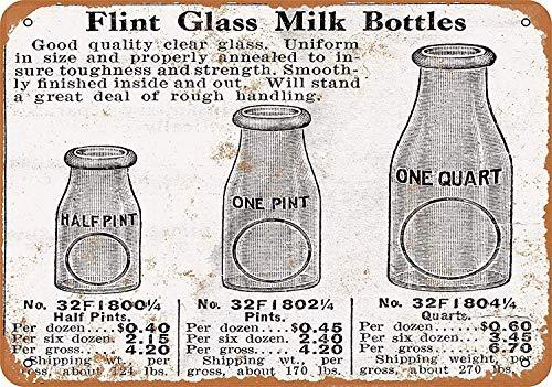 HiSign Flint Glass Milk Bottles Blechwand Zeichen Vintage Eisen Malerei Retro Kunst Warnung Metall Plaque Decor für Straße Cafe Bar Schlafsaal Cafeteria Vintage Milk Glass