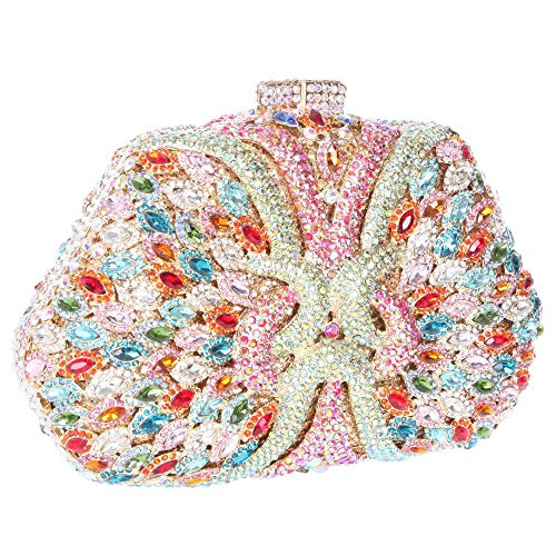 Damen Clutch Abendtasche Handtasche Geldbörse Glitzertasche Strass Kristall Blume Kuss Schloss Tasche mit wechselbare Trageketten von Santimon(6 Kolorit) Mehrfarbig