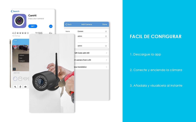 ieGeek C/ámara de Vigilancia WiFi Exterior Vista Remota con Android//iOS//PC /… C/ámara IP WiFi 1080P HD,