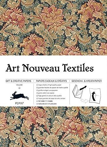 Art nouveau textiles, Volume 31 : 12 grandes feuilles de papiers cadeaux & créatifs de haute qualité