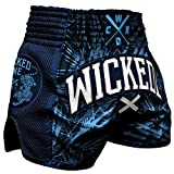 Wicked One Muay Thai Shorts Jungle - Navy - Muay Thai Thaiboxen Shorts traditionelle Thaiboxhose für Herren Sommer 2018 / Cooles Design mit aufwendigen Stickereien (XL)
