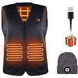 Facio Chaleco Calefactable Eléctrico, Chaleco Térmico Hombre y Mujer con 3 de Temperatura Ajustable con Inserto de Carga USB