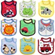 Ateid 9 Pack Unisex Baby Cotton Waterproof Layer Absorbent Bib for 3-24 Months