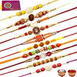#8: Tonkwalas Rakhi Festival Combo of 10 Dora Rakhi Set for Brother With Rolo Chawal & Best Wishes Greeting Card