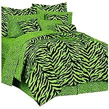 kimlor 07152900092KM Lime Zebra–Juego de colcha queen