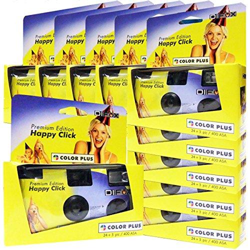 10x PHOTO PORST Einwegkamera / Hochzeitskamera / Partykamera HC gelb (27 Fotos, Blitz, 10-er Pack)