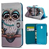 MAXFE.CO J3 2017 Case, for Samsung J3 Case 2017 Premium PU Leather Magnet Case Cover Shockproof Wallet Flip Case for Samsung Galaxy J3 2017 with [Card Holder] Wrist Strap, Owl
