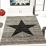 Trendiger Kurzflor Teppich Design Stern Meliert in Schwarz Grau 80x150 cm