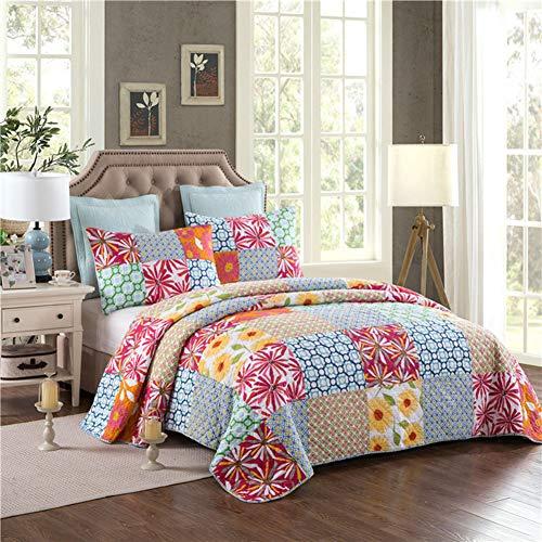 Starsou 3-Piece Cotton Quilted Tagesdecke Sunflower Pattern Quilt Decken Throw Für Sofa Comfort Reversible 1 Bettbezug 230 * 250cm + 2 Kissenbezüge 50 * 70cm -