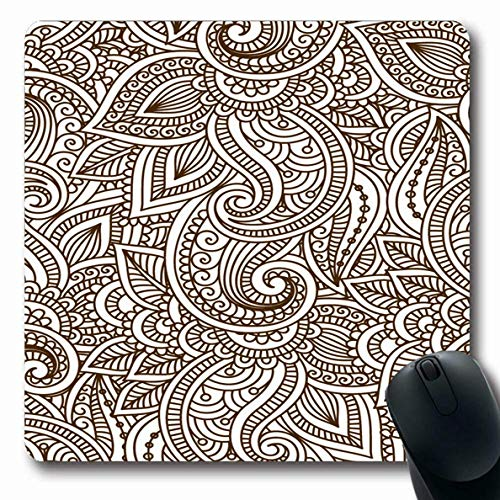 Luancrop Mousepad Oblong Mendi Muster Floral indische Mehendi Pflanze Tattoo Grafik Henna Blume Hindi Design Büro Computer Laptop Notebook Mauspad, rutschfeste Gummi -