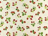 Dekostoff Erdbeeren und Tupfen, creme, Meterware ab 0,5 m