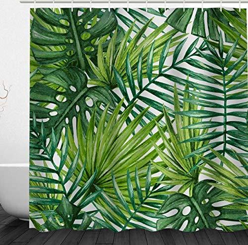 Alicemall Cortina Ducha 3D Estamapado Verde Hojas