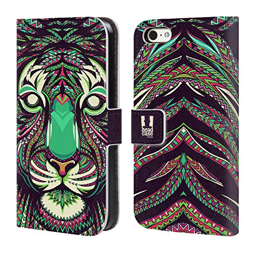 Head Case Designs Pferd Aztekische Tiergesichter Brieftasche Handyhülle aus Leder für Apple iPhone 4 / 4S Tiger