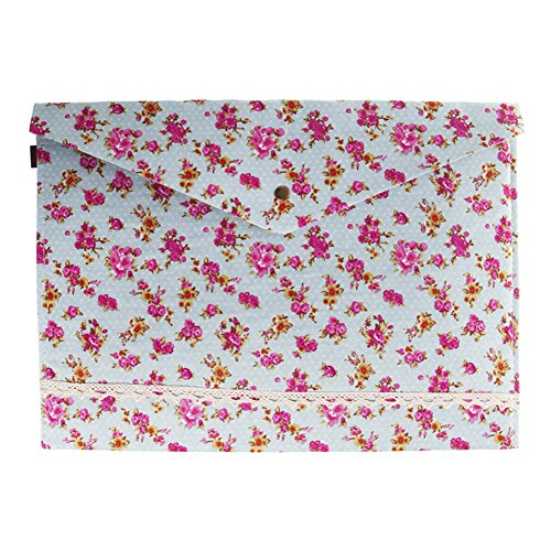Blumen Fur Bag (Hacoly A4 Datei Tasche mit Druckknopf Pastoral Stil Dokumententasche Beutel Klein Blumen Baumwolltuch Bag Bürobedarf Packung für Studenten Schulreise Zubehör - Zufall Farbe)
