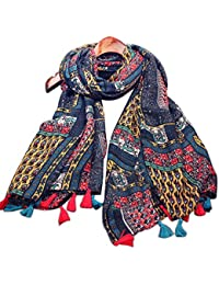 Demarkt retro national wind Queen bohemian shawl thick warm cotton fringed scarves