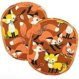 Knieflicken 12 x 10 cm Buegelflicken Set retro XL Fuchs auf braun 2 Stück große Hosenflicken patches zum aufbügeln Füchse Flicken Applikationen Bügelbilder
