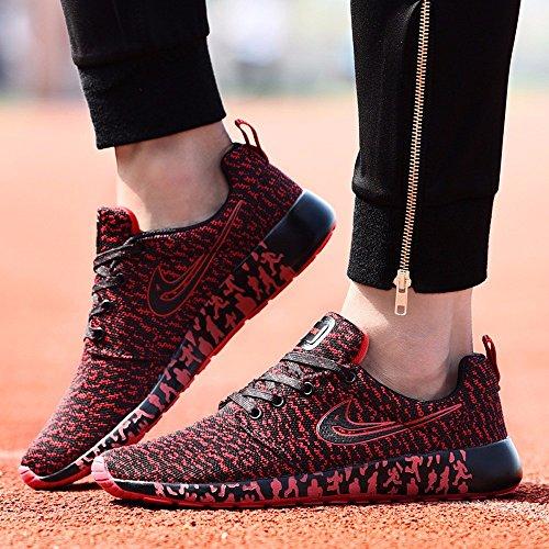 Traspirante Sneakers Scarpe Uomo Maglia Tessuta Scarpe Uomo Tempo Libero Scarpe Da Corsa Leggera Scarpe Di Smorzamento Red