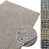 Kurzflor Teppich Carlton | Flachgewebe dezent gemustert | robuster Schlingenteppich in vielen Größen | als Wohnzimmerteppich, Küchenteppich, Schlafzimmerteppich (Grau-Beige - 100x150 cm)