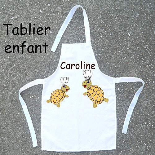 Tablier de cuisine enfant Tortue à personnaliser avec un Prénom (ex. Caroline)
