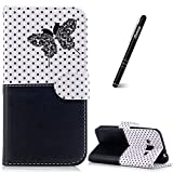 Galaxy J3 Case Black, Samsung Galaxy J3 2016 Phone Case, Slynmax Flip Folio Wallet Cover Stitching Butterfly Embossed Design Magnetic Premium PU Protective Leather Case Sillicone Soft TPU Inner Case with Credit Card Holders KickFolding Stand Folding Stand Function Wrist Strap Money Pouch Magnetic Closure Sports Outdoor Book Style Scratch Resistant Shockproof Case Ultra Slim Fit Smart Shell for Samsung Galaxy J3/J3 2016 + 1 * Free Stylus Touch Pen