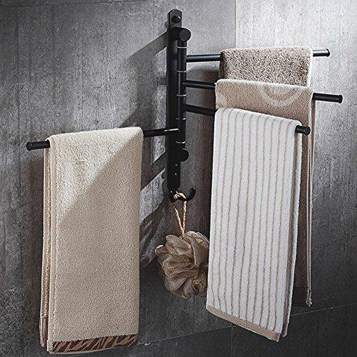Handtuch Rack, starvast Wand montiert 360Grad Swivel Handtuch Halter Öl eingerieben Bronze Handtuch Bars für Badezimmer (mit 4Arme, 2Haken) (Handtuchhalter Eingerieben Bronze 30 öl)