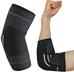 COMPRESSX Elbow Support Brace For Tendonitis Arthritis Support Adjustable Bandage Sports Elbow Joint Injury Full Arm Sleeve Stabilizer Strap Elbow-Pain Relief Compression Sleeve Tennis Golfers Elbow