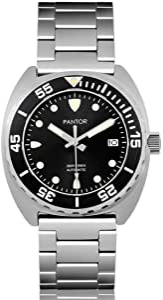 Pantor Sealion 300m, orologio automatico professionale subacqueo con valvola elio lunetta rotante, vetro zaffiro, bracciale in acciaio inox e cinturino in gomma