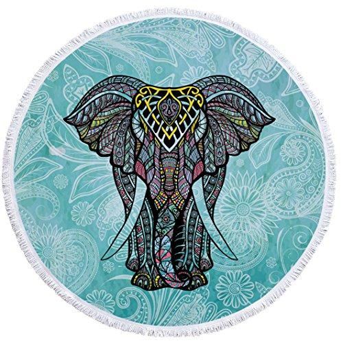 SUYUN Estampado de Elefante Redondo Toalla de Playa con borlas-01 150 * 150 cm