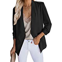Geagodelia Women's Long Sleeve Blazer Slim Fit Elegant Personality Open Front Solid Color Suit Jackets