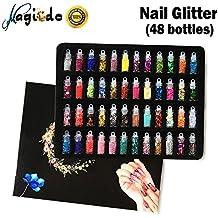 Magicdo Nail Glitter, 3D Nail Art Decoration con Mini Bottles, Art Glitter Set, Polvo Pigment Powder para Proyectos de Arte, Scrapbooking, Uñas, Rostro, Eyes Art, Artesanía DIY, 48 Botellas